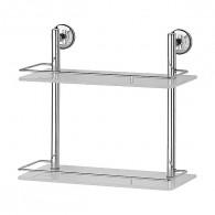 Полка 2-х уровневая с ограничителем FBS Standard Sta 063 (40 см) (стекло)