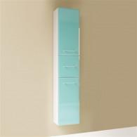 Пенал-шкаф Marka One Mix бирюзовое стекло, ручки рейлинг У72141