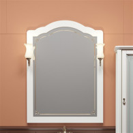 Зеркало Opadiris Лоренцо 80 белое, со светильниками на Рустику