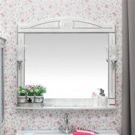 Зеркало Sanflor Адель 100 белое, патина серебро