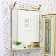 Зеркало Sanflor Адель 65 белое, патина золото