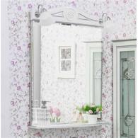 Зеркало Sanflor Адель 65 белое, патина серебро