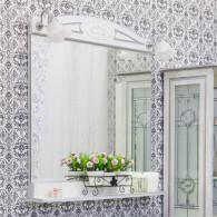 Зеркало Sanflor Адель 82 белое, патина серебро