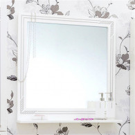 Зеркало Sanflor Элен 75 белое, патина серебро